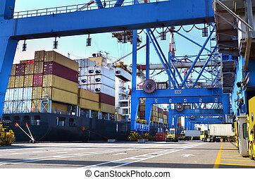 frakt, -, gods, skeppning, sjöstad