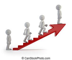framgång, folk, stege, -, liten, 3