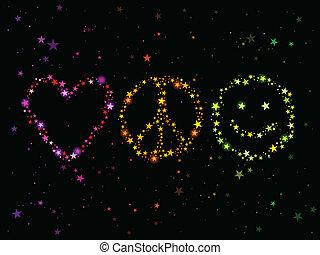 fred, kärlek, lycka