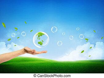 frisk, begrepp, grön värld, färsk