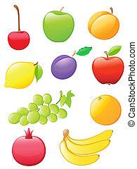 frukt, glatt, ikonen