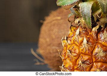 frukt, tillsluta, foto, ananas