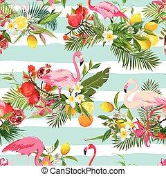 frukter, mönster, vektor, bakgrund., flamingo, fåglar, retro blommar, seamless, sommar, tropisk