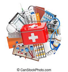 fstethoscope., apotek, concept., läkar byggsats, skaffar, bistånd, biljard, förgiftar, hälsa, utrustning, omsorg, medicin, första