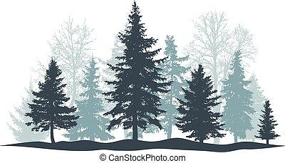 fura, skog, vektor, individ, vintergrön, isolated., objects., träd, jul, separat, vinter, illustration, träd., parkera