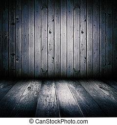 fyllda, gammal, upplyst, trä, moon., inre, skjul