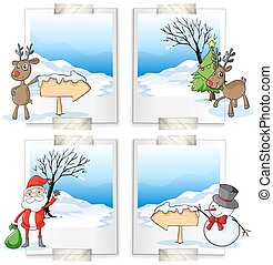 fyra, bild, tema, jul, inramar