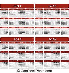 fyra, kalender, röd, år