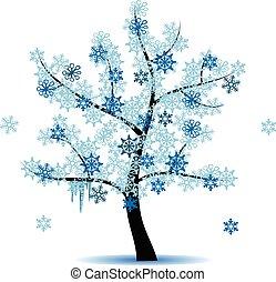 fyra, krydda, -, vinter träd