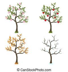fyra kryddar, konst, träd
