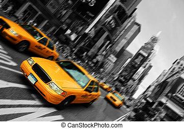 fyrkant, rörelse, taxi, fläck, stad, tajmar, york, fokusera, färsk