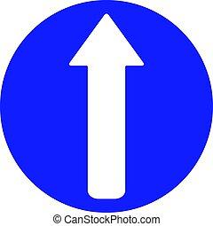 gå, straight., väg, pilen undertecknar