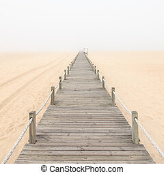gångbro, trä, portugal., bakgrund., sand, dimmig, strand
