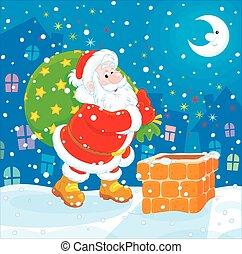 gåvor, väska, hans, jultomten