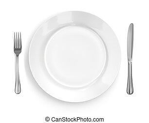 gaffel, tallrik, &, inställning, plats, kniv