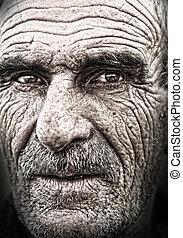gammal, äldre, ansikte, skinn, närbild, rynkig, stående, man