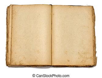 gammal, årgång, bok, bakgrund, vit, öppna