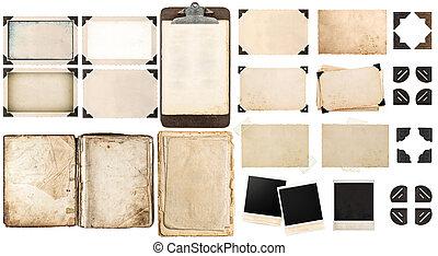 gammal, årgång, hörnen, papper, fotografi inramar, ark, öppen beställ
