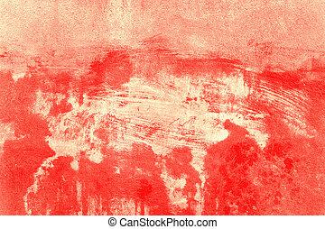 gammal, betongvägg, space., bakgrund., struktur, tom, avskrift, röd