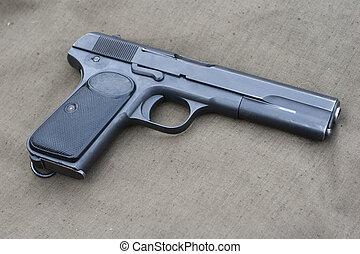 gammal, browning, gevär, hand