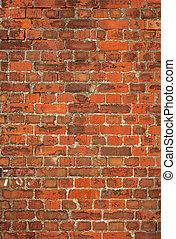 gammal, färgrik, vägg, brittisk, bakgrund., tegelsten, röd