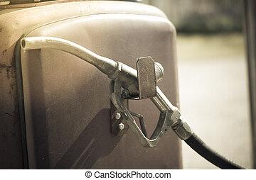 gammal, pump, gas, munstycke