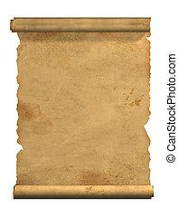 gammal, rulla, pergament