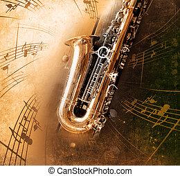 gammal, saxofon, smutsa ner, bakgrund