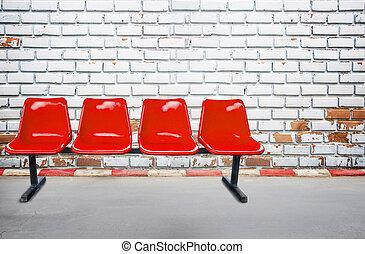 gammal, vägg, bakgrund, gångstig, stol, tegelsten, texture., röd, synhåll
