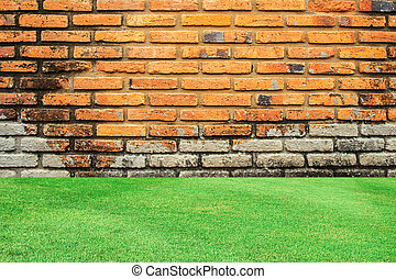 gammal, vägg, grön fond, tegelsten, gräs