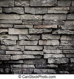 gammal, vägg, struktur, svart fond, tegelsten