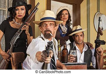 gangster, vapen, rökning, whiskey