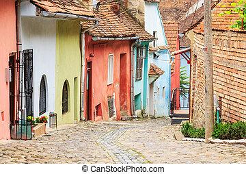gata, medeltida, grundlagt, colonists, sighisoara, saxon, synhåll