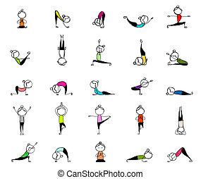 ge sig sken, folk, yoga, din, öva, design, 25