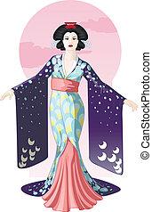 geisha, teckning, tecken, retro, attraktiv, aktris, japansk