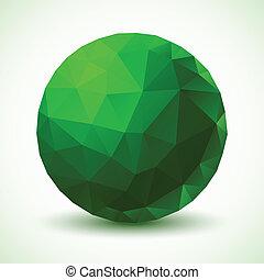 geometrisk, boll, grön