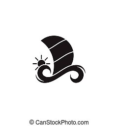 geometrisk, silhuett, resa, logo, vektor, enkel, segel