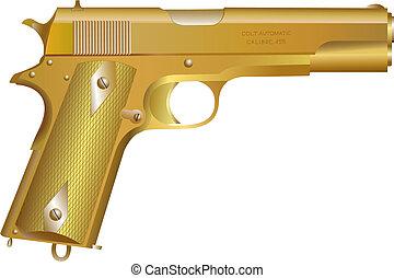 gevär, guld