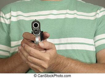 gevär, holdingen, man