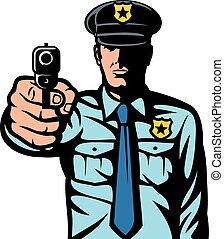 gevär, pekande, polisman