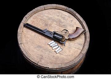 gevär, slagverk, revolver, -, väst, här, gammal
