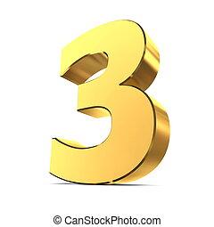 glänsande, 3, -, numrera, guld