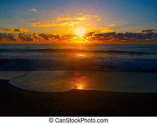 glödande, soluppgång