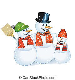 glad, snowmen, tre
