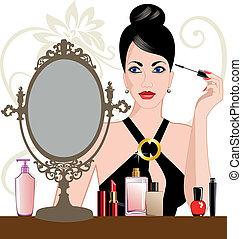glamour, kvinna, applicera makeup