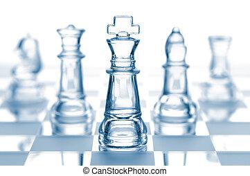 glas, vit, isolerat, transparent, schack