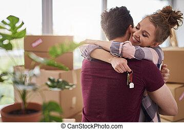 glatt par, lägenhet, färsk, stämm