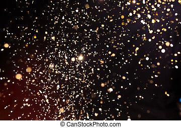 glitter, bakgrund., explosion, helgdag, svart, guldgul fond, foto, confetti.