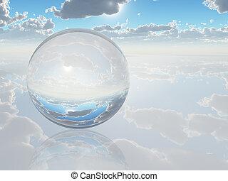 glob, kristall, landskap, surrealistisk