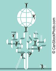 global, framgång, stairway, affär